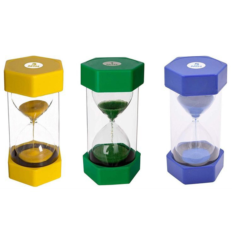 sand timer set 1 minute  3 minutes  5 minutes coloured